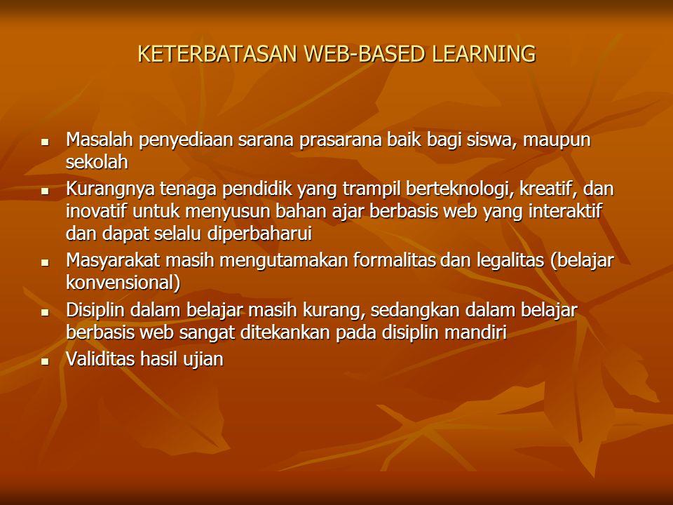 KETERBATASAN WEB-BASED LEARNING Masalah penyediaan sarana prasarana baik bagi siswa, maupun sekolah Masalah penyediaan sarana prasarana baik bagi siswa, maupun sekolah Kurangnya tenaga pendidik yang trampil berteknologi, kreatif, dan inovatif untuk menyusun bahan ajar berbasis web yang interaktif dan dapat selalu diperbaharui Kurangnya tenaga pendidik yang trampil berteknologi, kreatif, dan inovatif untuk menyusun bahan ajar berbasis web yang interaktif dan dapat selalu diperbaharui Masyarakat masih mengutamakan formalitas dan legalitas (belajar konvensional) Masyarakat masih mengutamakan formalitas dan legalitas (belajar konvensional) Disiplin dalam belajar masih kurang, sedangkan dalam belajar berbasis web sangat ditekankan pada disiplin mandiri Disiplin dalam belajar masih kurang, sedangkan dalam belajar berbasis web sangat ditekankan pada disiplin mandiri Validitas hasil ujian Validitas hasil ujian