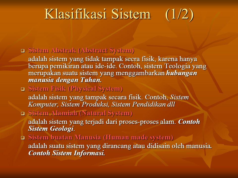 Klasifikasi Sistem (1/2)  Sistem Abstrak (Abstract System) adalah sistem yang tidak tampak secra fisik, karena hanya berupa pemikiran atau ide-ide.