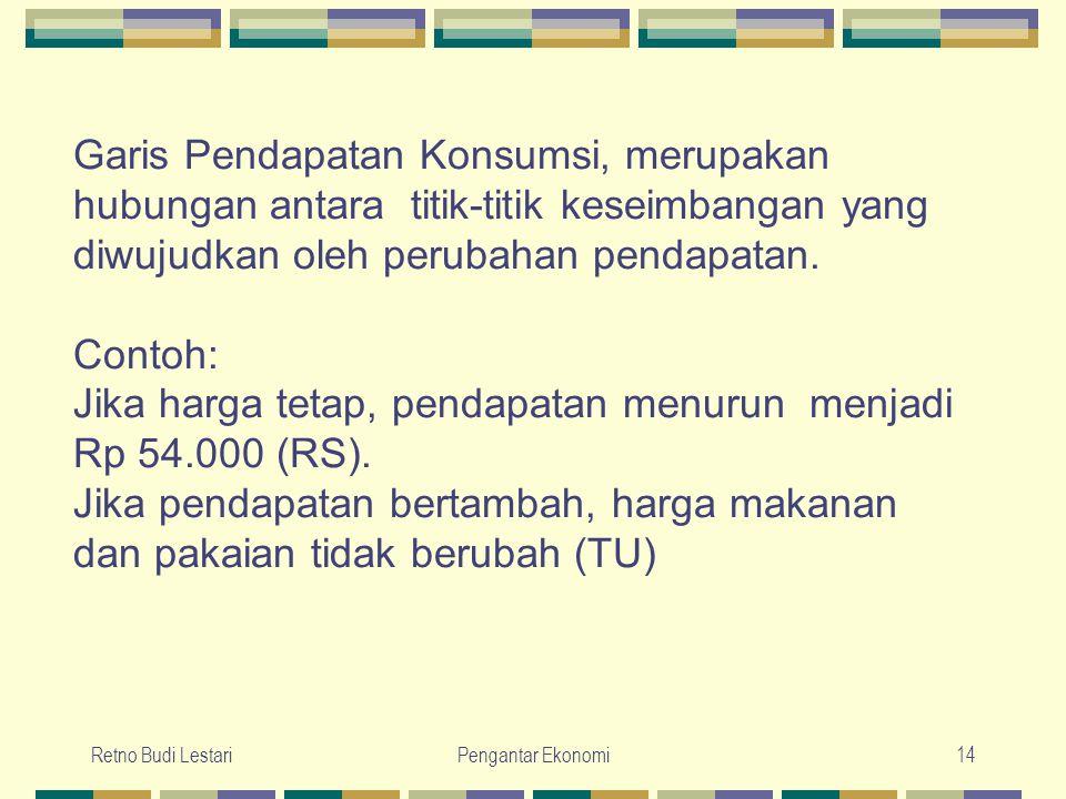 Retno Budi LestariPengantar Ekonomi14 Garis Pendapatan Konsumsi, merupakan hubungan antara titik-titik keseimbangan yang diwujudkan oleh perubahan pen