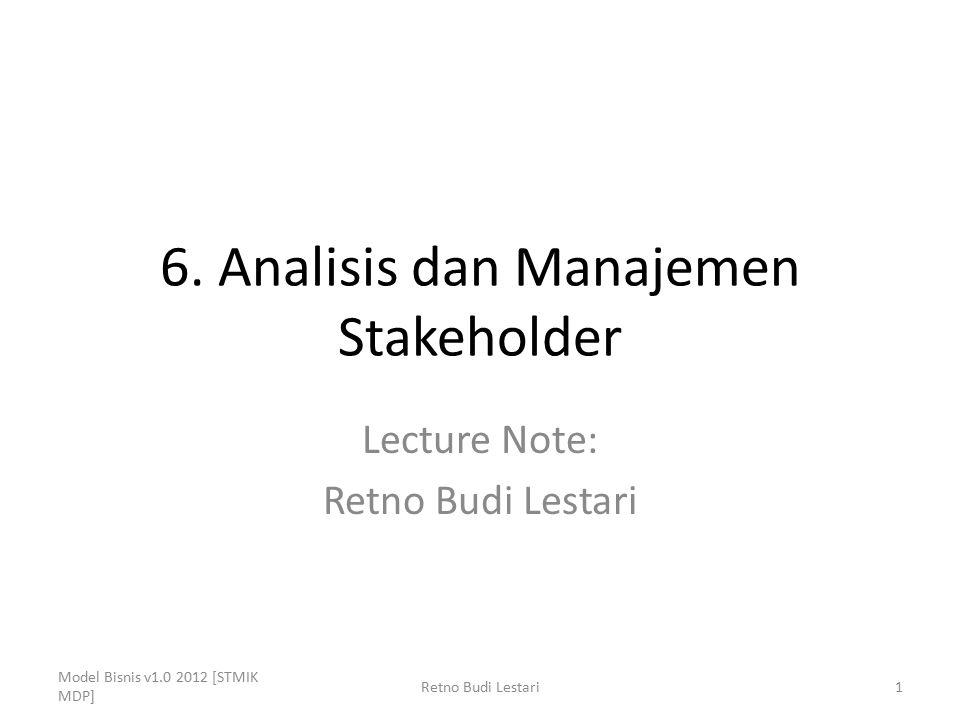 6. Analisis dan Manajemen Stakeholder Lecture Note: Retno Budi Lestari Model Bisnis v1.0 2012 [STMIK MDP] 1Retno Budi Lestari