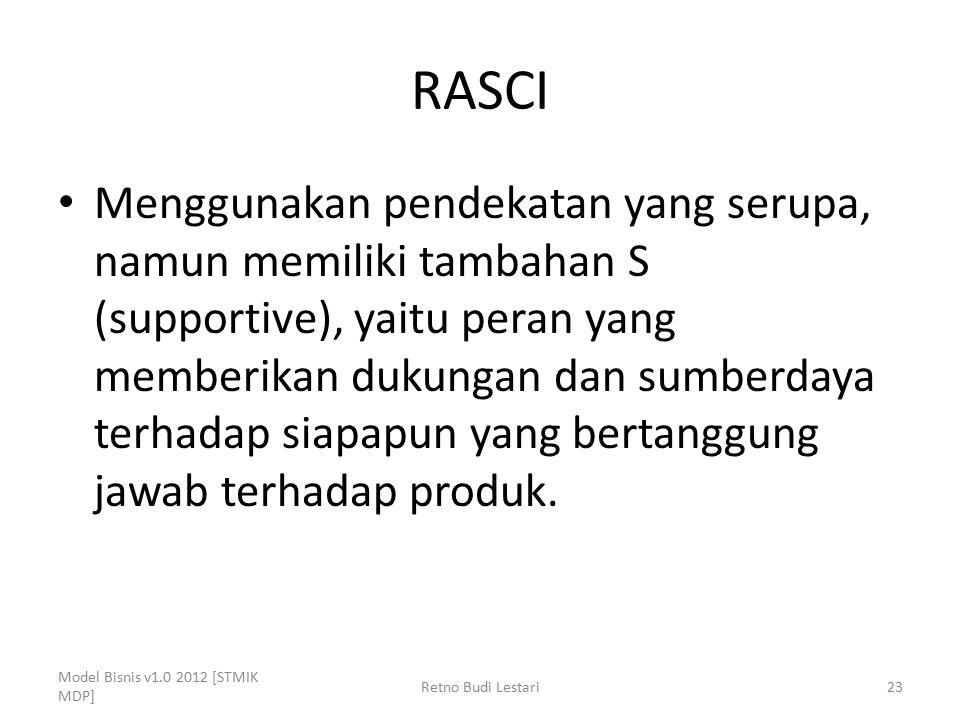 RASCI Menggunakan pendekatan yang serupa, namun memiliki tambahan S (supportive), yaitu peran yang memberikan dukungan dan sumberdaya terhadap siapapu