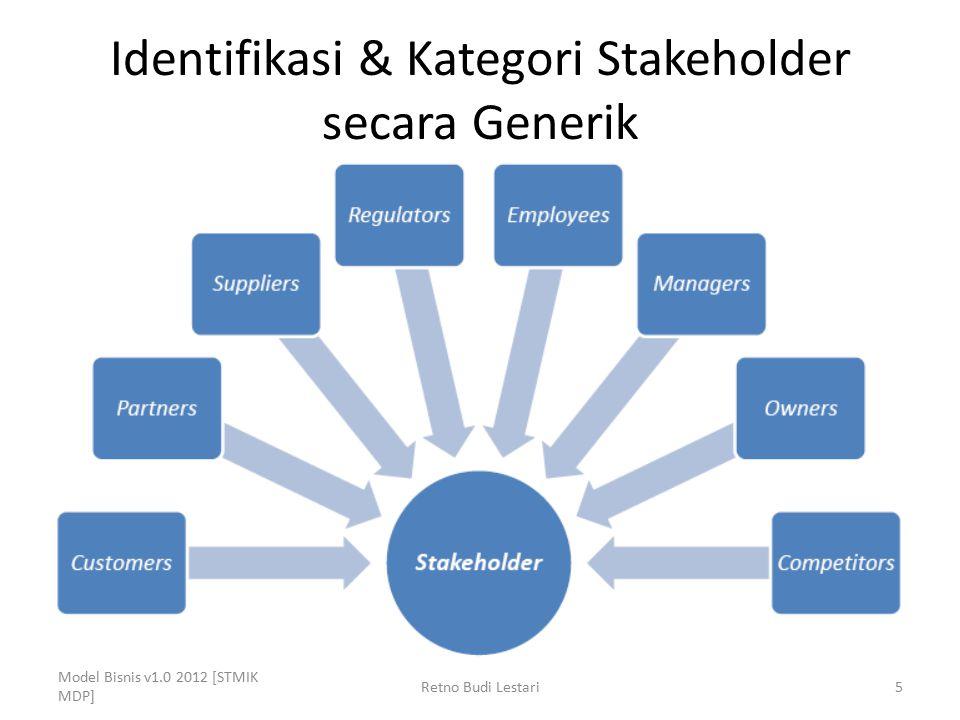 Identifikasi & Kategori Stakeholder secara Generik Model Bisnis v1.0 2012 [STMIK MDP] Retno Budi Lestari5