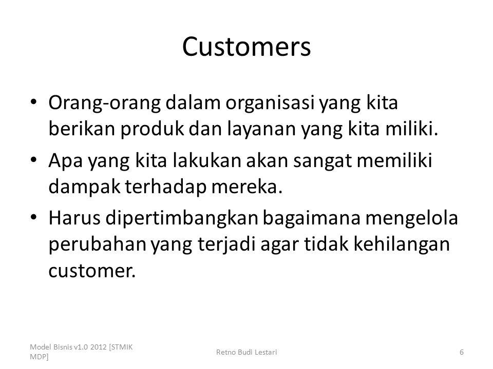 Customers Orang-orang dalam organisasi yang kita berikan produk dan layanan yang kita miliki. Apa yang kita lakukan akan sangat memiliki dampak terhad