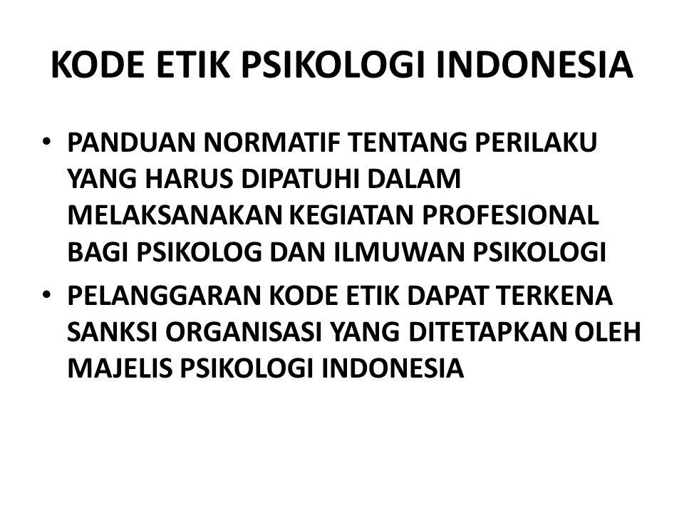 KODE ETIK PSIKOLOGI INDONESIA PANDUAN NORMATIF TENTANG PERILAKU YANG HARUS DIPATUHI DALAM MELAKSANAKAN KEGIATAN PROFESIONAL BAGI PSIKOLOG DAN ILMUWAN PSIKOLOGI PELANGGARAN KODE ETIK DAPAT TERKENA SANKSI ORGANISASI YANG DITETAPKAN OLEH MAJELIS PSIKOLOGI INDONESIA