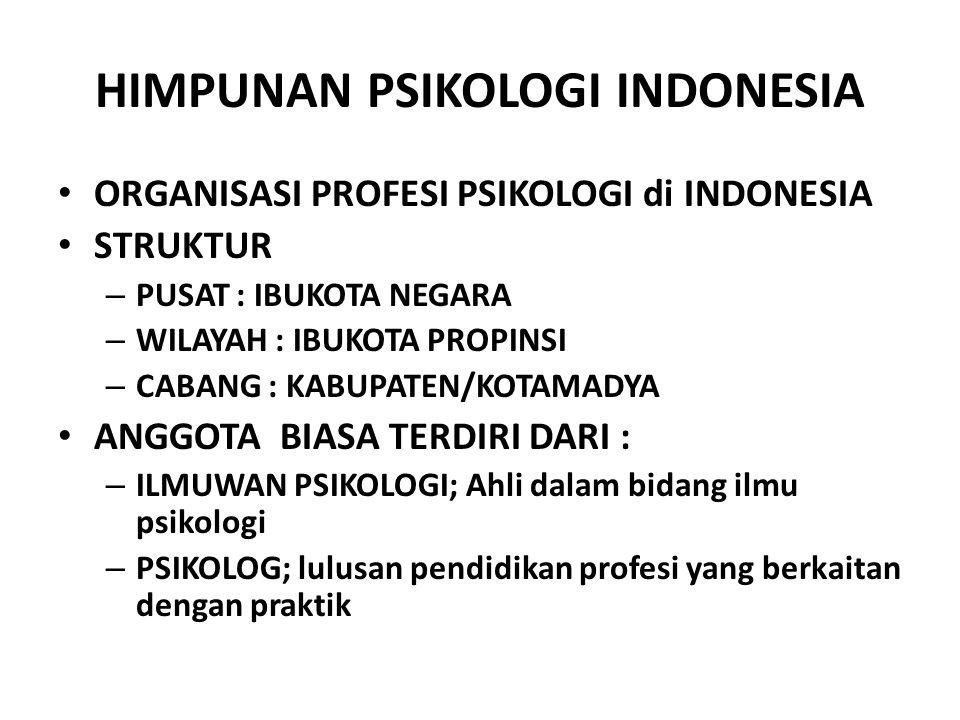 ORGANISASI PROFESI PSIKOLOGI di INDONESIA STRUKTUR – PUSAT : IBUKOTA NEGARA – WILAYAH : IBUKOTA PROPINSI – CABANG : KABUPATEN/KOTAMADYA ANGGOTA BIASA TERDIRI DARI : – ILMUWAN PSIKOLOGI; Ahli dalam bidang ilmu psikologi – PSIKOLOG; lulusan pendidikan profesi yang berkaitan dengan praktik
