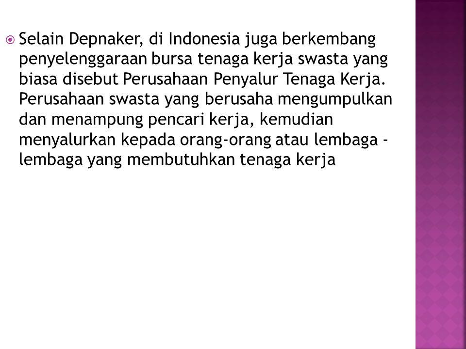  Selain Depnaker, di Indonesia juga berkembang penyelenggaraan bursa tenaga kerja swasta yang biasa disebut Perusahaan Penyalur Tenaga Kerja.