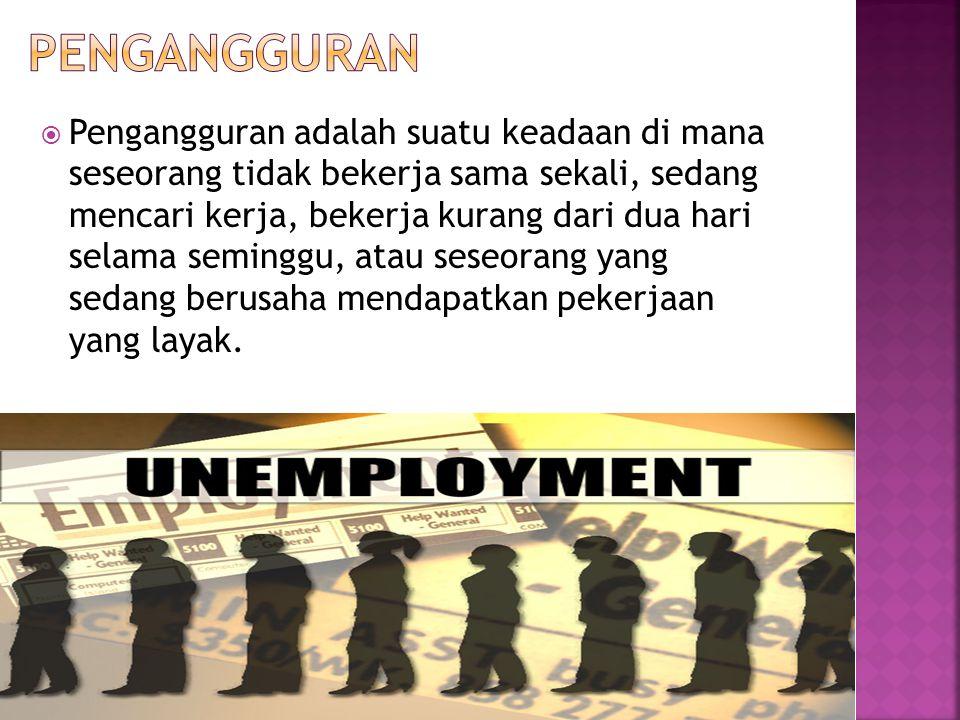  Pengangguran adalah suatu keadaan di mana seseorang tidak bekerja sama sekali, sedang mencari kerja, bekerja kurang dari dua hari selama seminggu, atau seseorang yang sedang berusaha mendapatkan pekerjaan yang layak.
