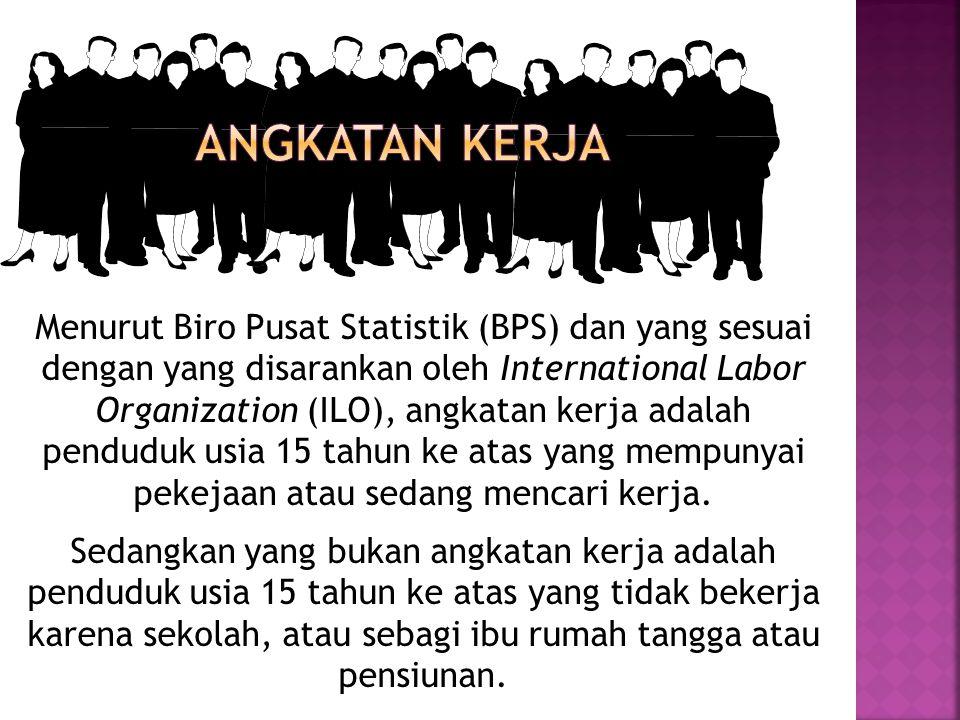 Menurut Biro Pusat Statistik (BPS) dan yang sesuai dengan yang disarankan oleh International Labor Organization (ILO), angkatan kerja adalah penduduk usia 15 tahun ke atas yang mempunyai pekejaan atau sedang mencari kerja.