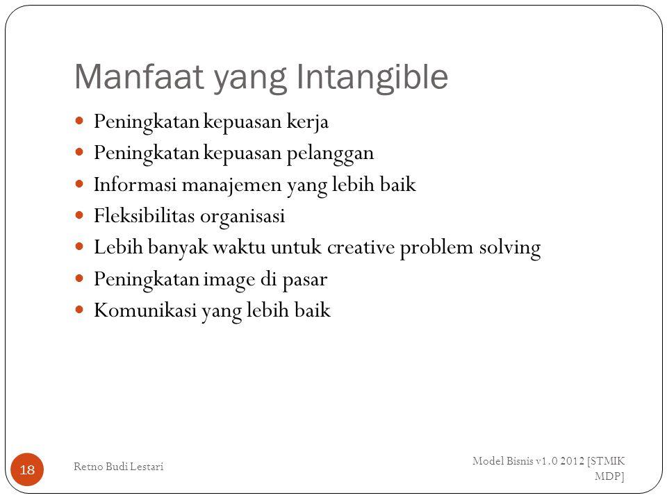 Manfaat yang Intangible Model Bisnis v1.0 2012 [STMIK MDP] Retno Budi Lestari 18 Peningkatan kepuasan kerja Peningkatan kepuasan pelanggan Informasi m