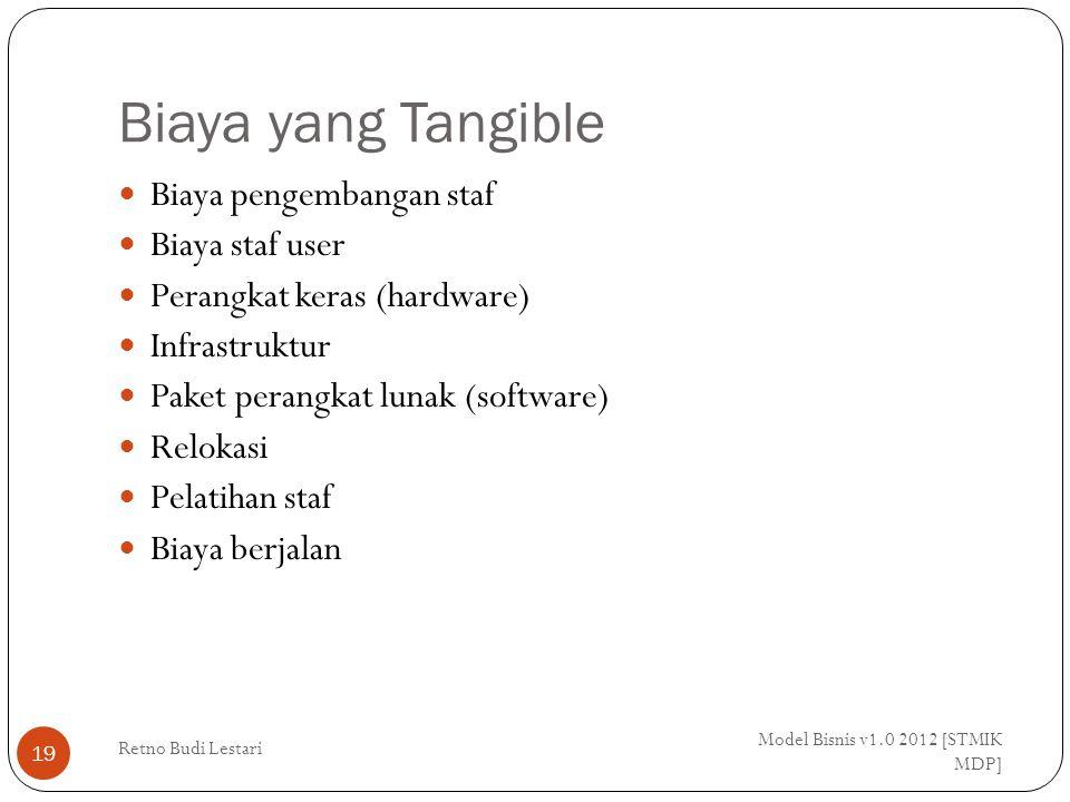 Biaya yang Tangible Model Bisnis v1.0 2012 [STMIK MDP] Retno Budi Lestari 19 Biaya pengembangan staf Biaya staf user Perangkat keras (hardware) Infrastruktur Paket perangkat lunak (software) Relokasi Pelatihan staf Biaya berjalan