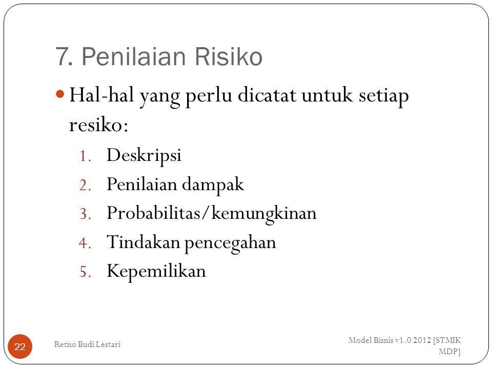 7. Penilaian Risiko Model Bisnis v1.0 2012 [STMIK MDP] Retno Budi Lestari 22 Hal-hal yang perlu dicatat untuk setiap resiko: 1. Deskripsi 2. Penilaian
