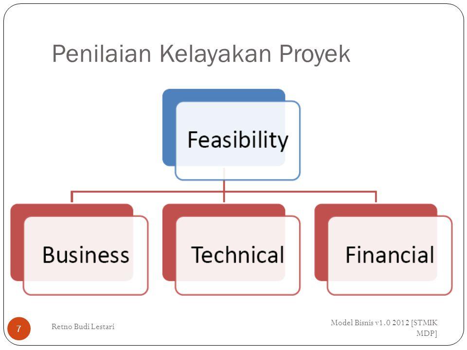 Kelayakan Bisnis Model Bisnis v1.0 2012 [STMIK MDP] Retno Budi Lestari 8 Apakah proposal sesuai dengan tujuan bisnis dan strategi organisasi serta apakah dapat tercapai dalam kondisi pasar saat ini.