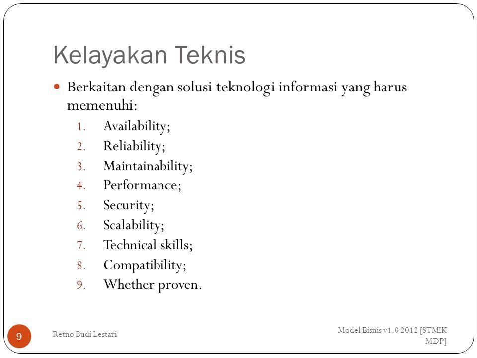 Kelayakan Teknis Model Bisnis v1.0 2012 [STMIK MDP] Retno Budi Lestari 9 Berkaitan dengan solusi teknologi informasi yang harus memenuhi: 1.