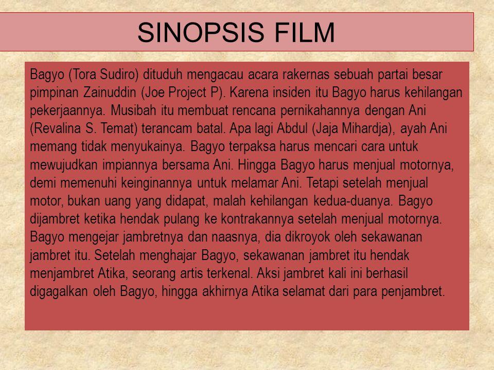 SINOPSIS FILM Bagyo (Tora Sudiro) dituduh mengacau acara rakernas sebuah partai besar pimpinan Zainuddin (Joe Project P). Karena insiden itu Bagyo har