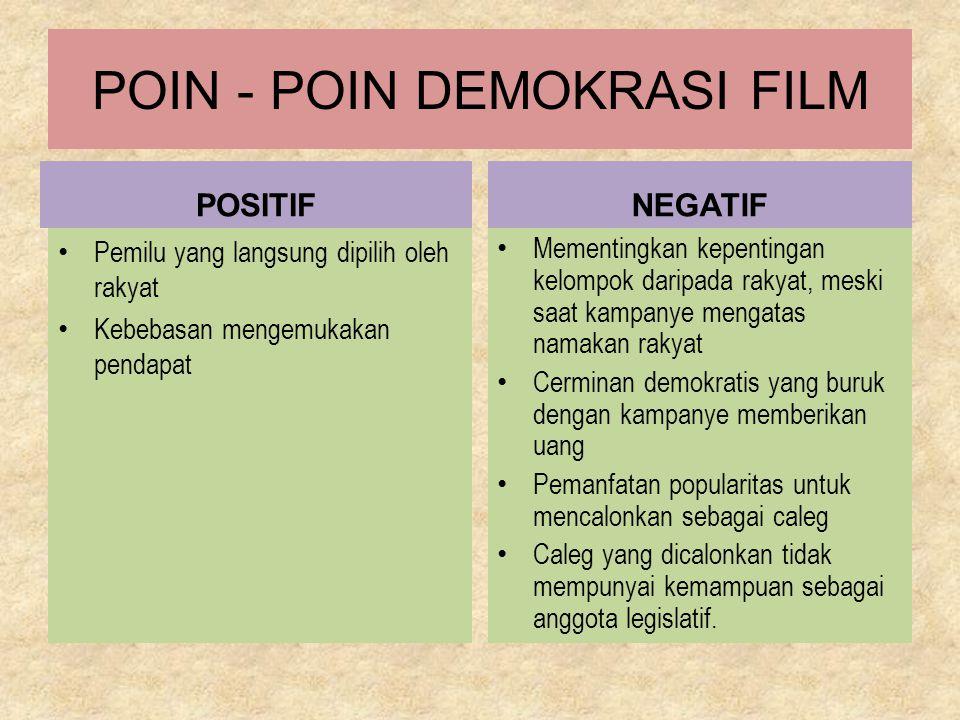 POIN - POIN DEMOKRASI FILM POSITIF Pemilu yang langsung dipilih oleh rakyat Kebebasan mengemukakan pendapat NEGATIF Mementingkan kepentingan kelompok