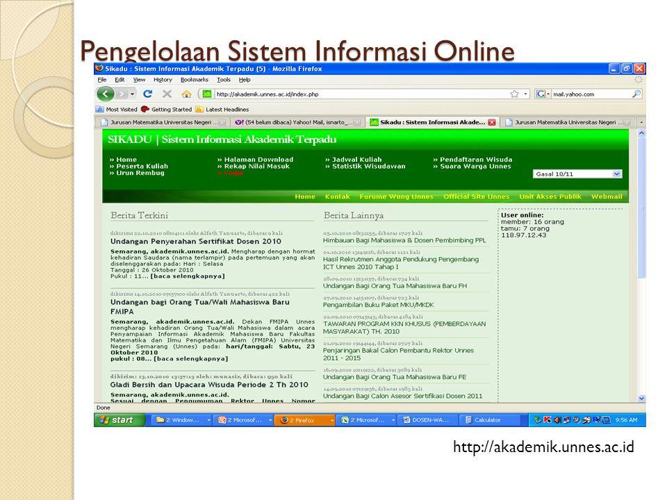 Pengelolaan Sistem Informasi Online http://akademik.unnes.ac.id