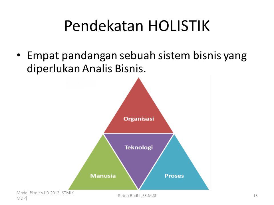 Pendekatan HOLISTIK Empat pandangan sebuah sistem bisnis yang diperlukan Analis Bisnis. Model Bisnis v1.0 2012 [STMIK MDP] Retno Budi L,SE,M.Si15
