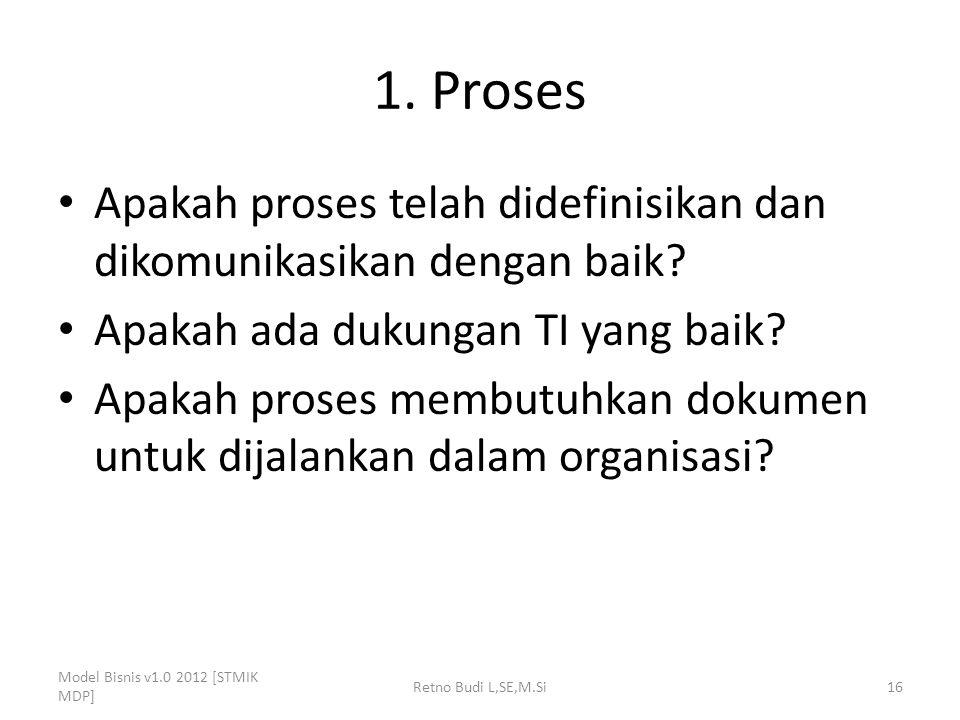 1. Proses Apakah proses telah didefinisikan dan dikomunikasikan dengan baik? Apakah ada dukungan TI yang baik? Apakah proses membutuhkan dokumen untuk