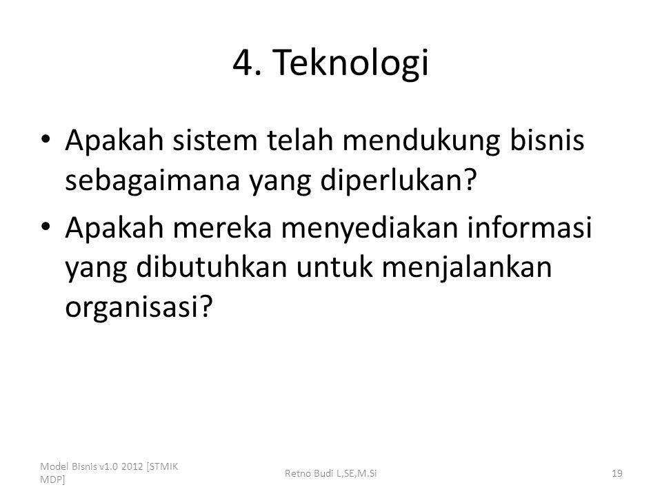 4. Teknologi Apakah sistem telah mendukung bisnis sebagaimana yang diperlukan? Apakah mereka menyediakan informasi yang dibutuhkan untuk menjalankan o