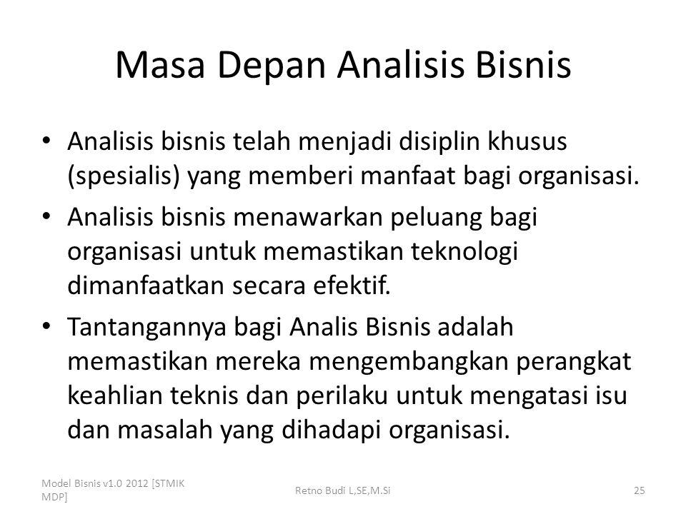 Masa Depan Analisis Bisnis Analisis bisnis telah menjadi disiplin khusus (spesialis) yang memberi manfaat bagi organisasi. Analisis bisnis menawarkan