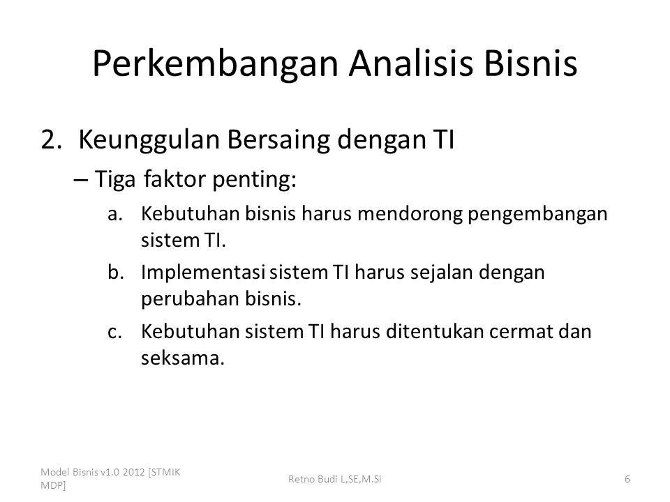Perkembangan Analisis Bisnis 2.Keunggulan Bersaing dengan TI – Tiga faktor penting: a.Kebutuhan bisnis harus mendorong pengembangan sistem TI. b.Imple