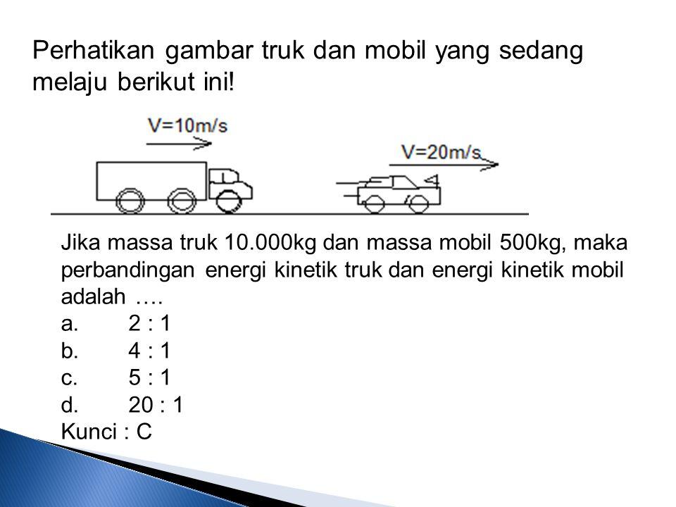 Perhatikan gambar truk dan mobil yang sedang melaju berikut ini! Jika massa truk 10.000kg dan massa mobil 500kg, maka perbandingan energi kinetik truk