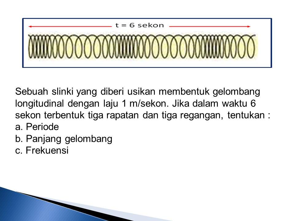 Sebuah slinki yang diberi usikan membentuk gelombang longitudinal dengan laju 1 m/sekon. Jika dalam waktu 6 sekon terbentuk tiga rapatan dan tiga rega