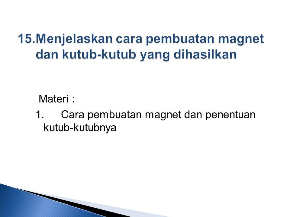 Materi : 1.Cara pembuatan magnet dan penentuan kutub-kutubnya