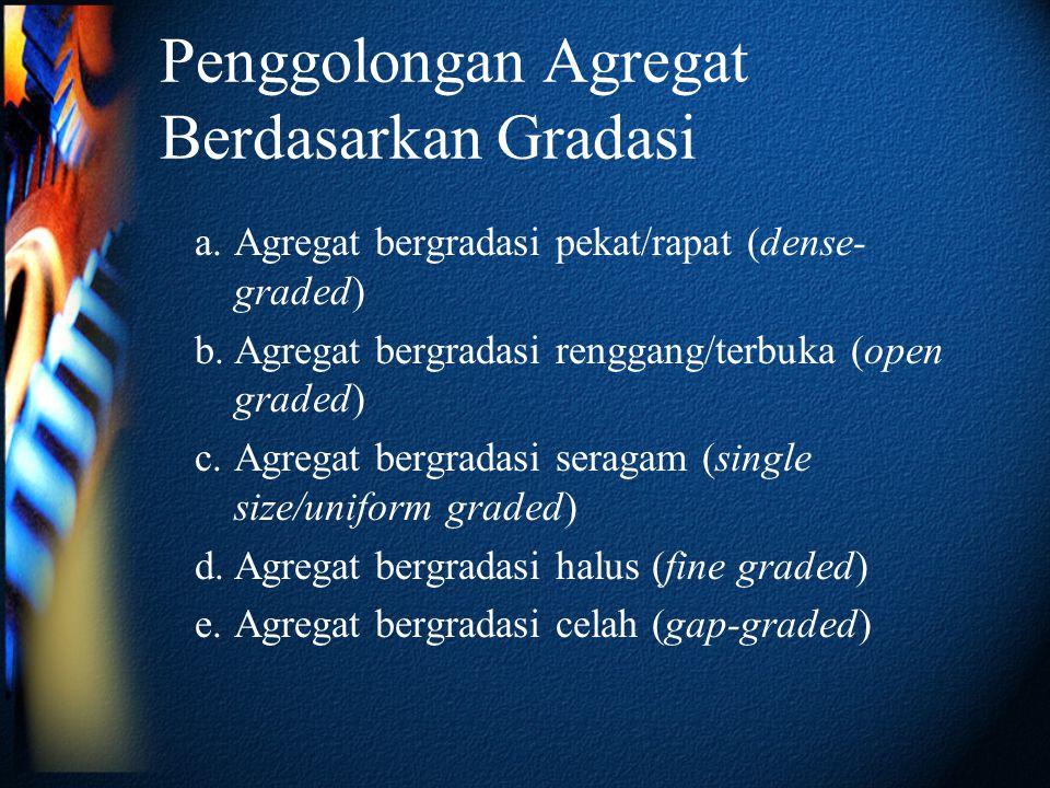 Penggolongan Agregat Berdasarkan Gradasi a.Agregat bergradasi pekat/rapat (dense- graded) b.Agregat bergradasi renggang/terbuka (open graded) c.Agrega