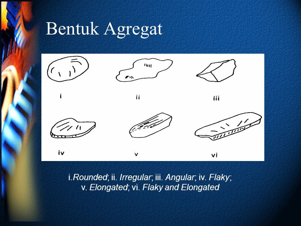 Bentuk Agregat i.Rounded; ii. Irregular; iii. Angular; iv. Flaky; v. Elongated; vi. Flaky and Elongated