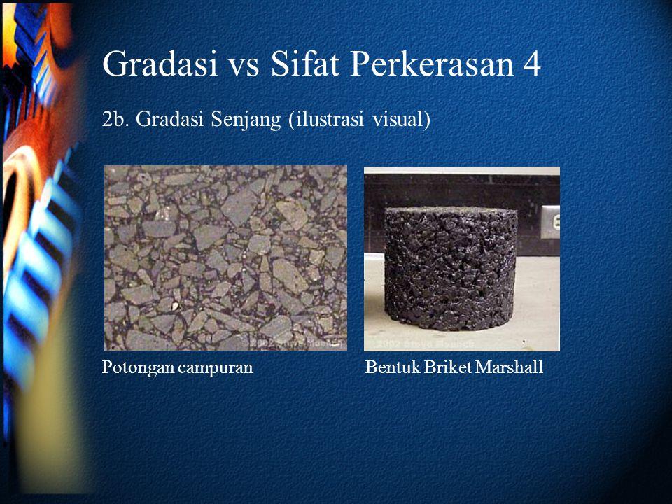 Gradasi vs Sifat Perkerasan 4 2b. Gradasi Senjang (ilustrasi visual) Potongan campuranBentuk Briket Marshall