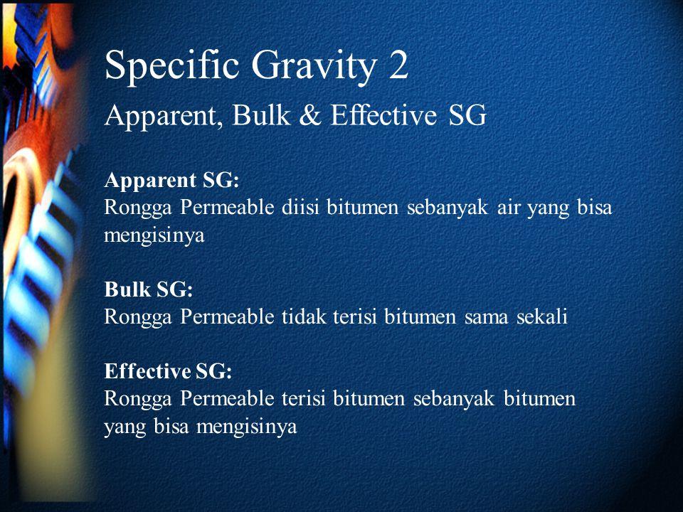 Specific Gravity 2 Apparent, Bulk & Effective SG Apparent SG: Rongga Permeable diisi bitumen sebanyak air yang bisa mengisinya Bulk SG: Rongga Permeab