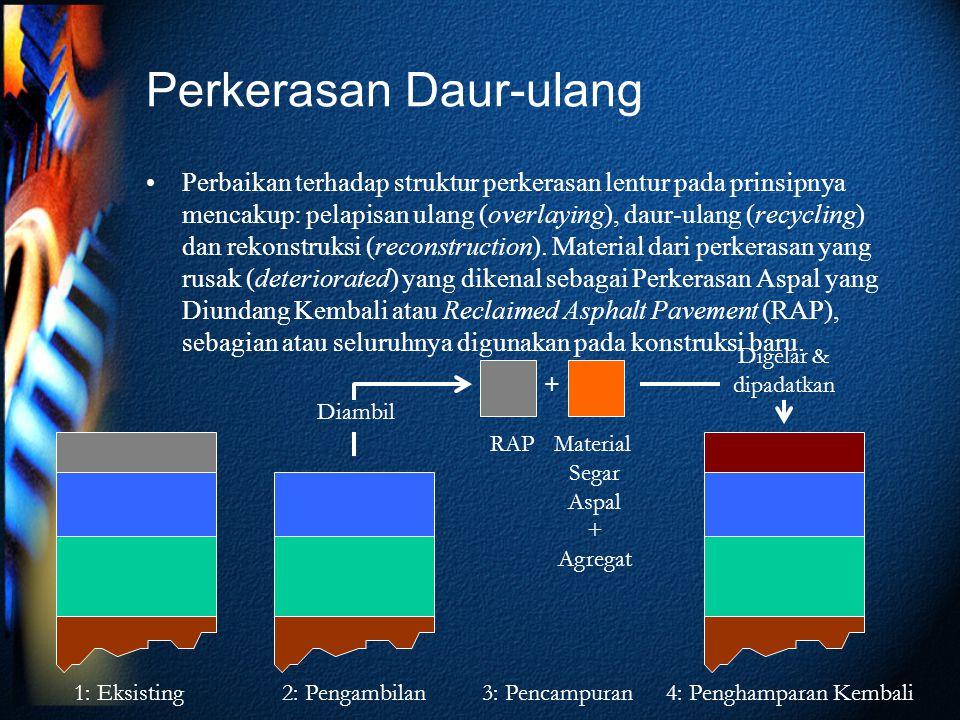 Perkerasan Daur-ulang Perbaikan terhadap struktur perkerasan lentur pada prinsipnya mencakup: pelapisan ulang (overlaying), daur-ulang (recycling) dan