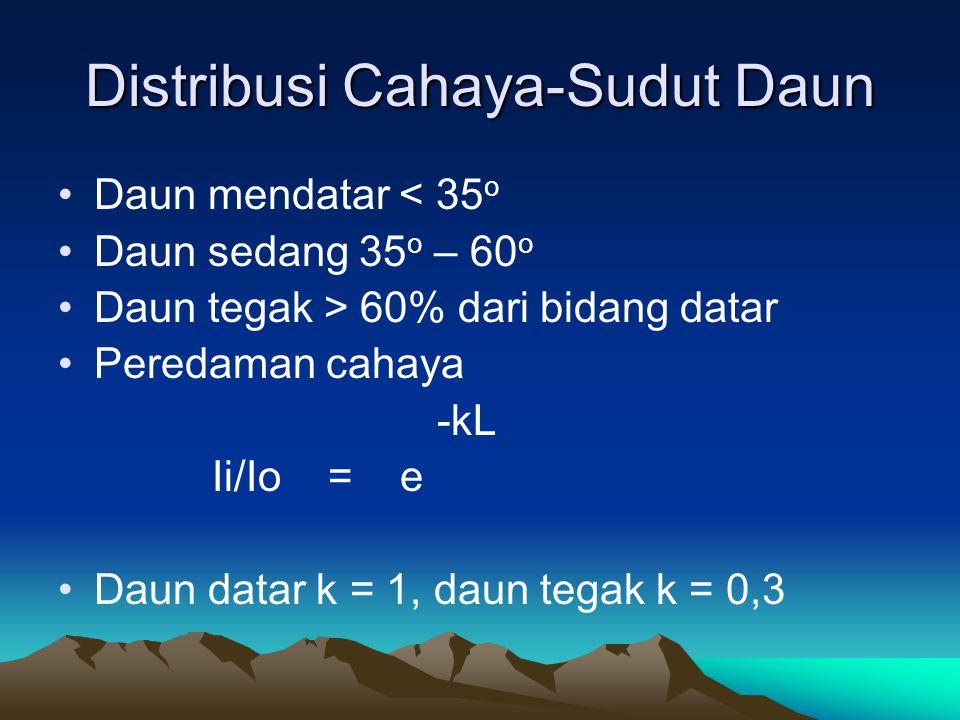 Daun mendatar < 35 o Daun sedang 35 o – 60 o Daun tegak > 60% dari bidang datar Peredaman cahaya -kL Ii/Io = e Daun datar k = 1, daun tegak k = 0,3