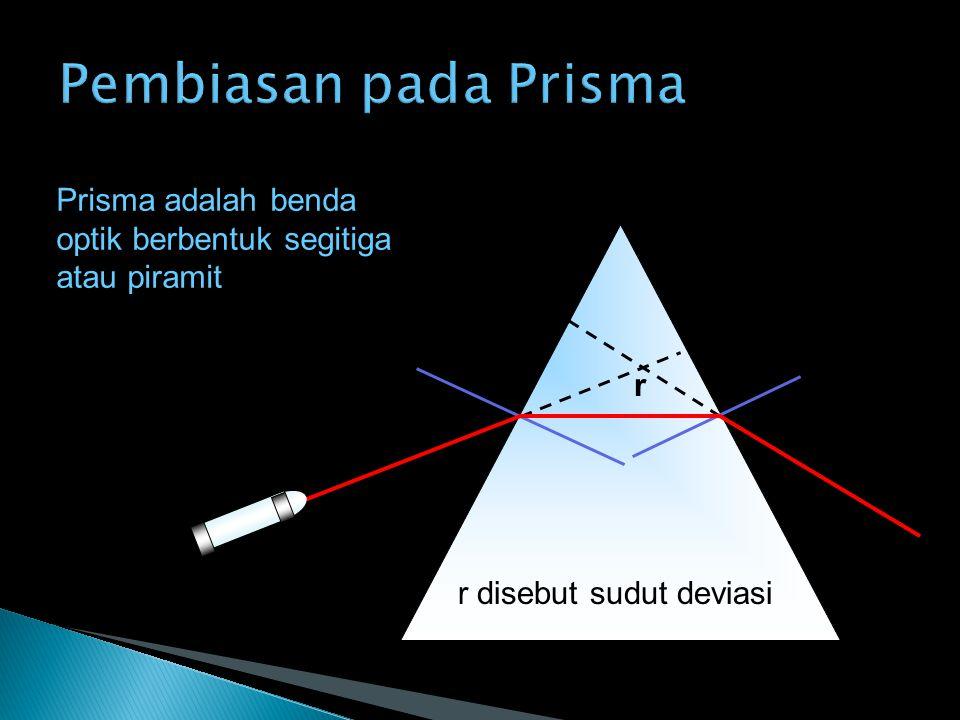 r r disebut sudut deviasi Prisma adalah benda optik berbentuk segitiga atau piramit