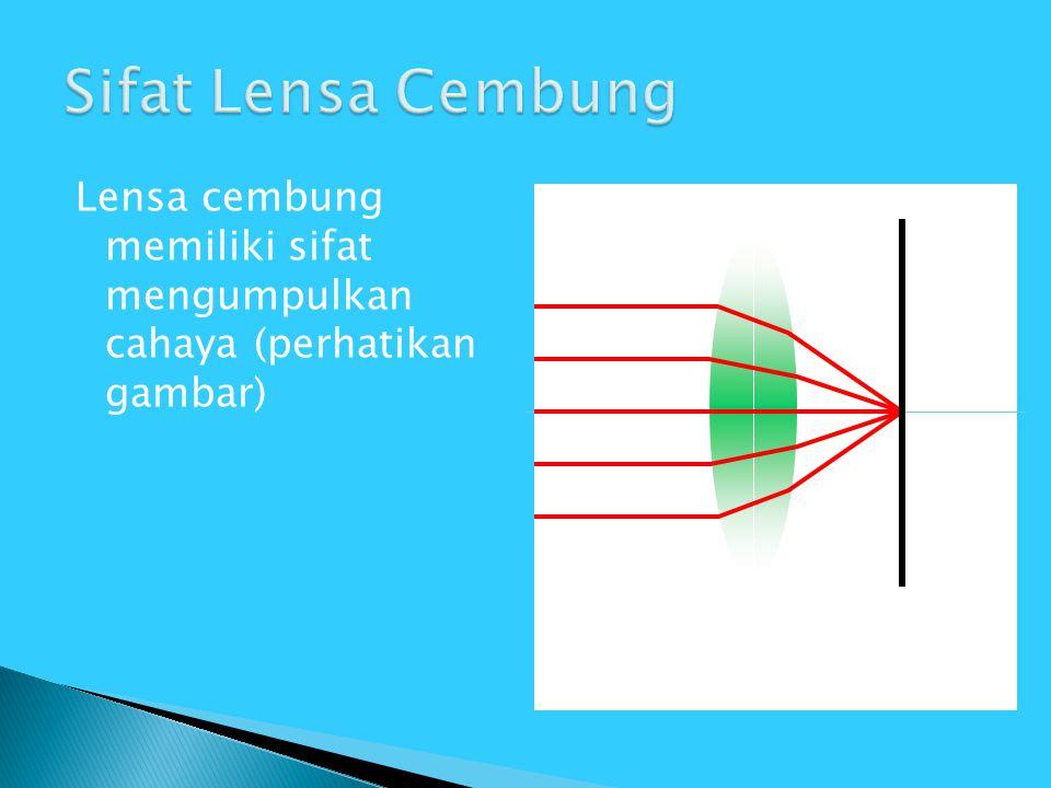 Lensa cembung memiliki sifat mengumpulkan cahaya (perhatikan gambar)