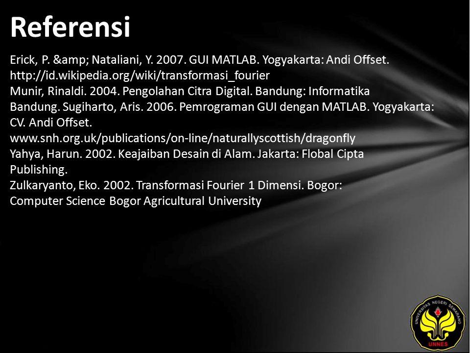 Referensi Erick, P. & Nataliani, Y. 2007. GUI MATLAB. Yogyakarta: Andi Offset. http://id.wikipedia.org/wiki/transformasi_fourier Munir, Rinaldi. 2