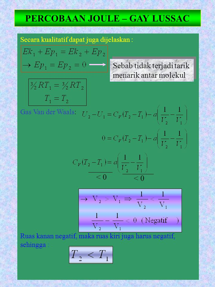 Secara kualitatif dapat juga dijelaskan : Gas Van der Waals: Ruas kanan negatif, maka ruas kiri juga harus negatif, sehingga : PERCOBAAN JOULE – GAY L