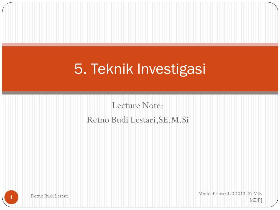 Pendahuluan Model Bisnis v1.0 2012 [STMIK MDP] Retno Budi Lestari 2 Analis Bisnis bertangung jawab melakukan studi yang diawali dengan pemahaman umum akan situasi, kemudian menghasilkan diagnosis penyebabnya dan diikuti dengan kebutuhan akan solusi.