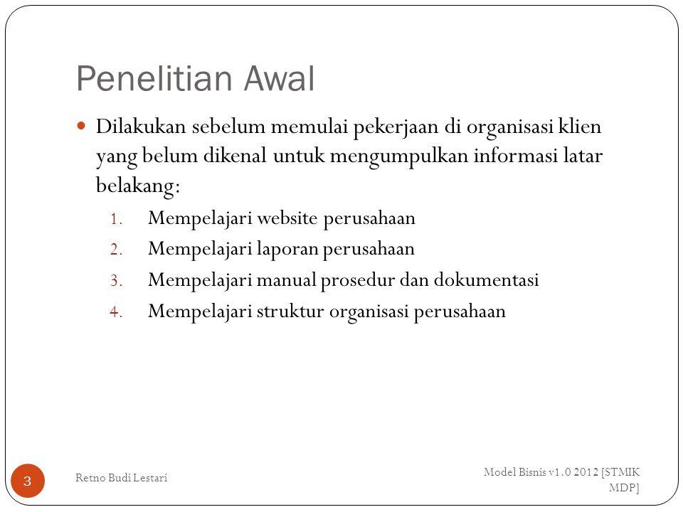 # Interview/Wawancara Model Bisnis v1.0 2012 [STMIK MDP] Retno Budi Lestari 14 Persiapan interview  5W: 1.