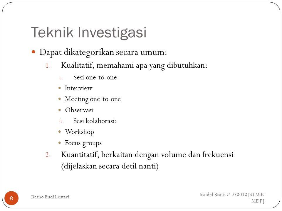 Catatan Kebutuhan Bisnis (Business Needs Log) Model Bisnis v1.0 2012 [STMIK MDP] Retno Budi Lestari 39