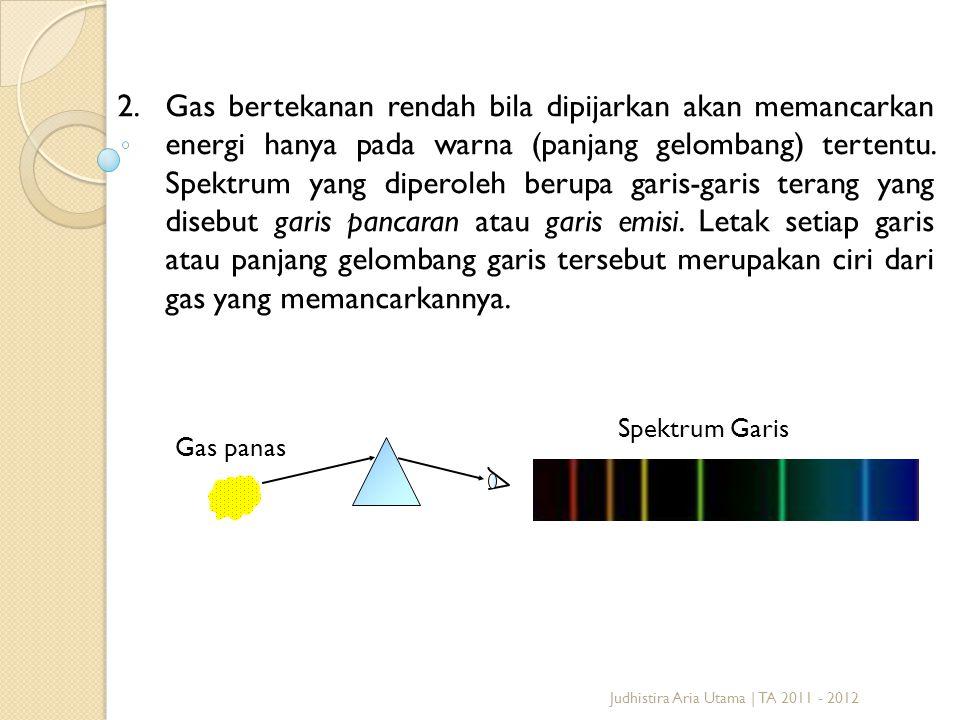Judhistira Aria Utama | TA 2011 - 2012 2.Gas bertekanan rendah bila dipijarkan akan memancarkan energi hanya pada warna (panjang gelombang) tertentu.