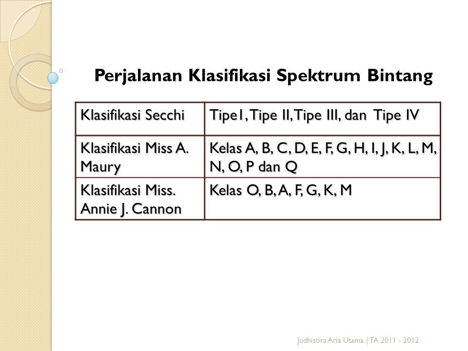 Judhistira Aria Utama | TA 2011 - 2012 Klasifikasi Secchi Tipe1, Tipe II, Tipe III, dan Tipe IV Klasifikasi Miss A. Maury Kelas A, B, C, D, E, F, G, H
