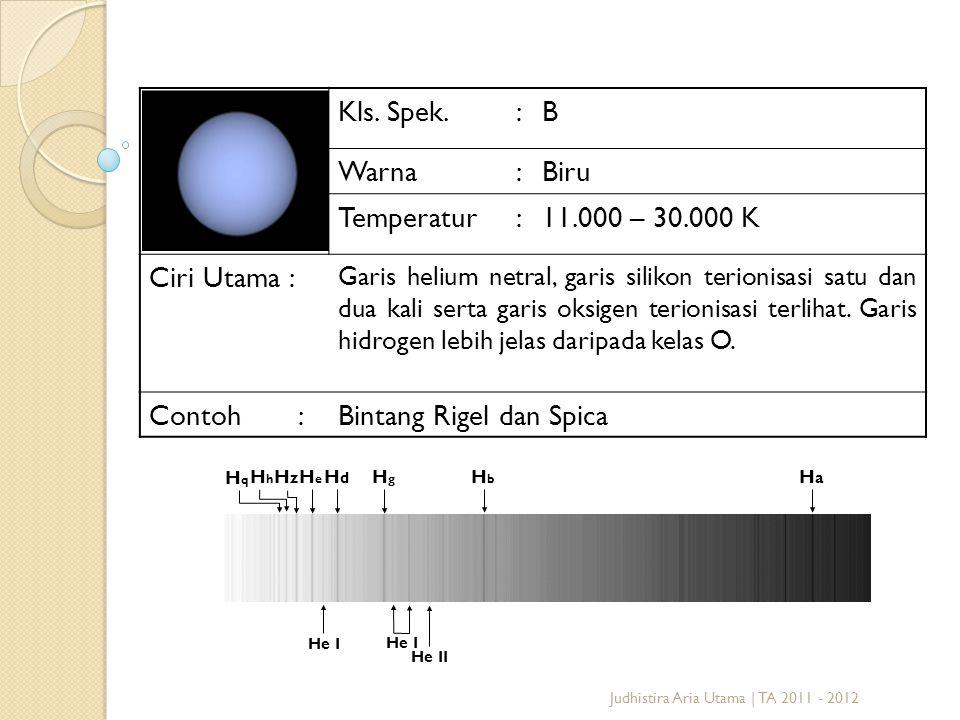 Judhistira Aria Utama | TA 2011 - 2012 Kls. Spek.:B Warna:Biru Temperatur:11.000 – 30.000 K Ciri Utama : Garis helium netral, garis silikon terionisas