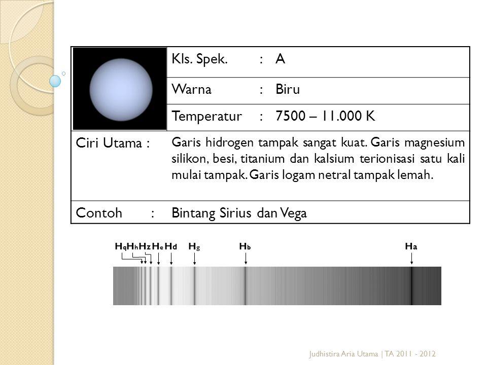 Judhistira Aria Utama | TA 2011 - 2012 Kls. Spek.:A Warna:Biru Temperatur:7500 – 11.000 K Ciri Utama : Garis hidrogen tampak sangat kuat. Garis magnes