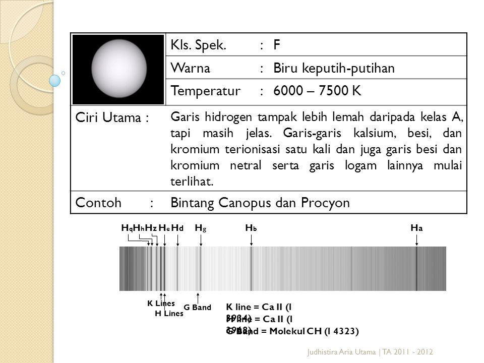 Judhistira Aria Utama | TA 2011 - 2012 Kls. Spek.:F Warna:Biru keputih-putihan Temperatur:6000 – 7500 K Ciri Utama : Garis hidrogen tampak lebih lemah