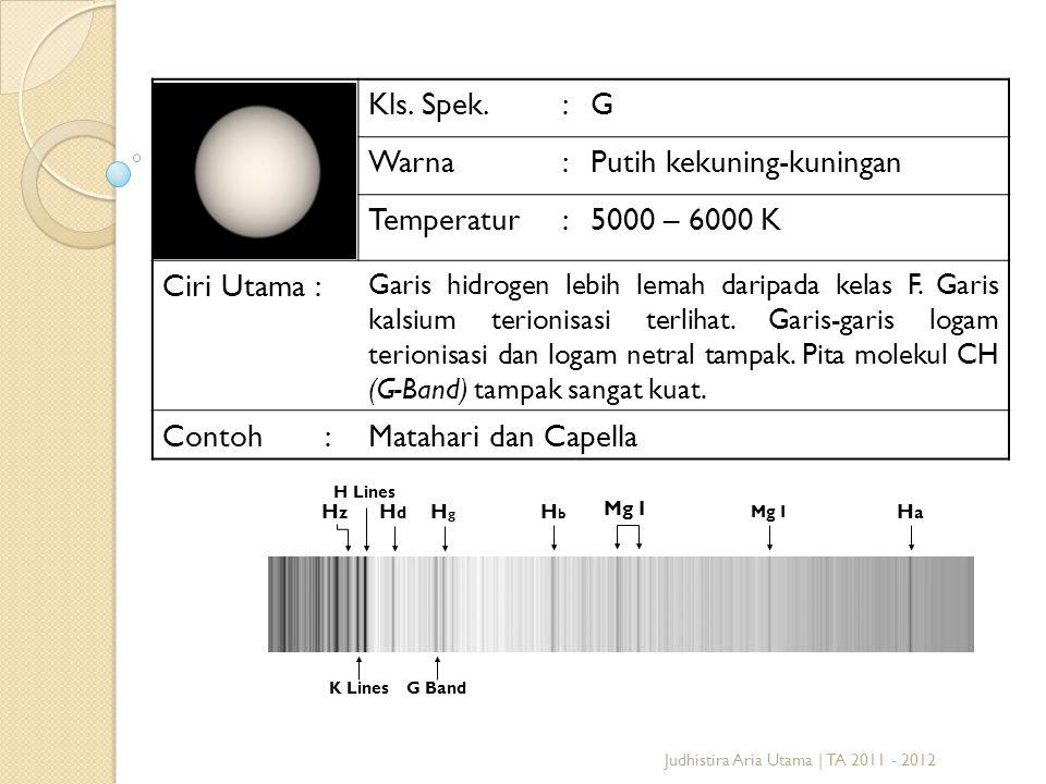 Judhistira Aria Utama | TA 2011 - 2012 Kls. Spek.:G Warna:Putih kekuning-kuningan Temperatur:5000 – 6000 K Ciri Utama : Garis hidrogen lebih lemah dar
