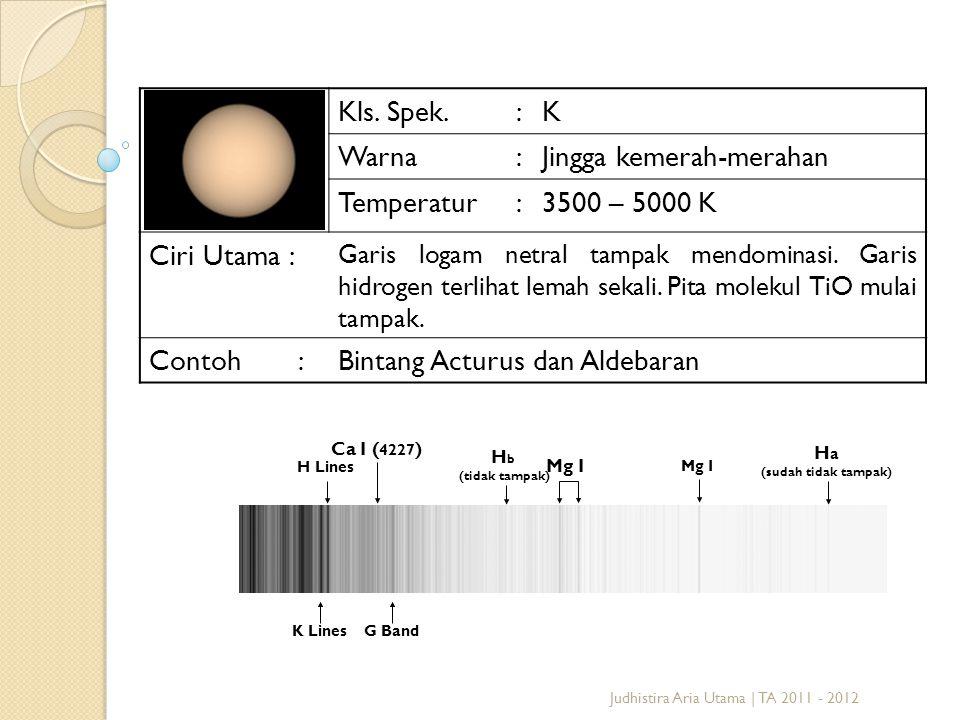 Judhistira Aria Utama | TA 2011 - 2012 Kls. Spek.:K Warna:Jingga kemerah-merahan Temperatur:3500 – 5000 K Ciri Utama : Garis logam netral tampak mendo