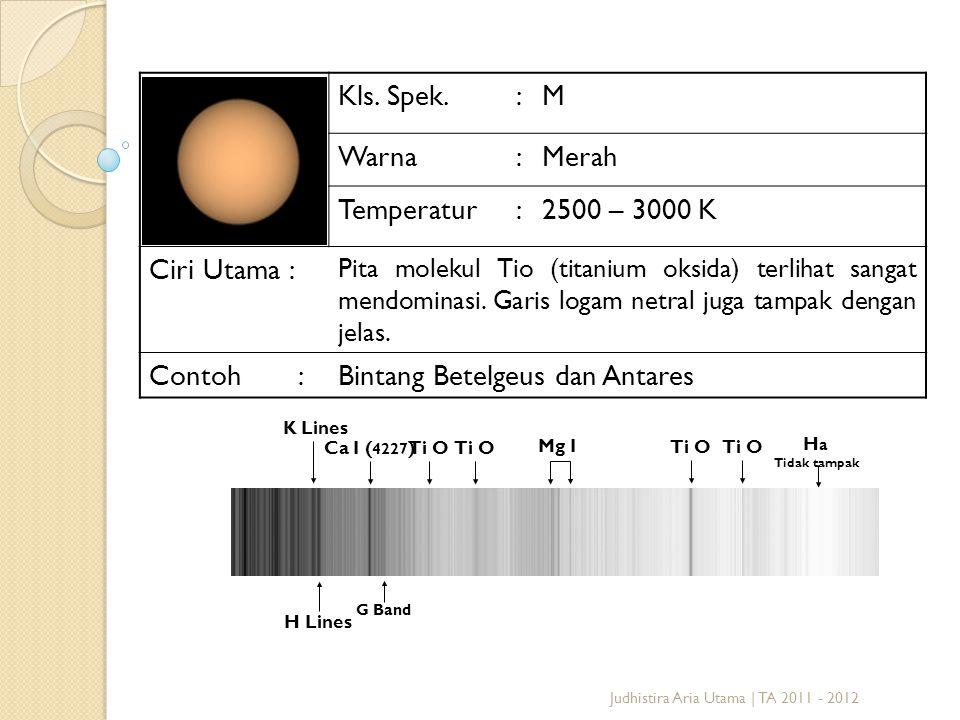 Judhistira Aria Utama | TA 2011 - 2012 Kls. Spek.:M Warna:Merah Temperatur:2500 – 3000 K Ciri Utama : Pita molekul Tio (titanium oksida) terlihat sang