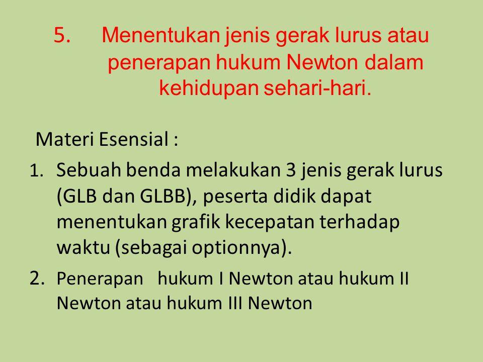 5. Menentukan jenis gerak lurus atau penerapan hukum Newton dalam kehidupan sehari-hari. Materi Esensial : 1. Sebuah benda melakukan 3 jenis gerak lur